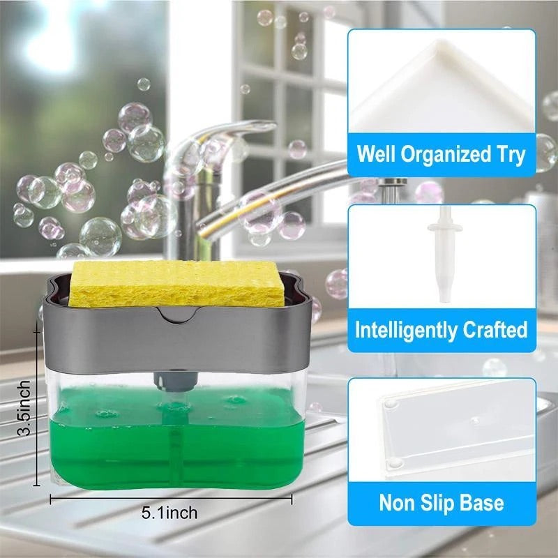Smart™ Liquid Soap Pump Dispenser + Sponge Holder (With Free Sponge)