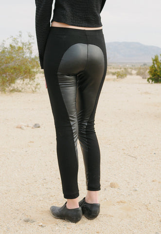 Heart breaker - Black moto leggings with faux leather inserts - cruelty free