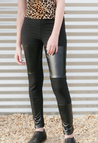 Devil-may-care - Black moto leggings with faux leather panels - cruelty free