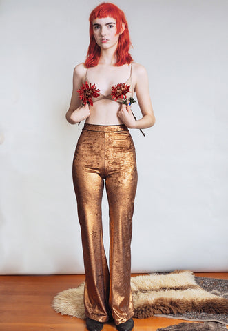 Hells Bells - Metallic copper bell bottoms wide leg pants - disco