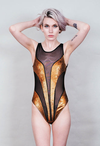 Ray Gun - Copper metallic bodysuit with black mesh inserts - sleeveless