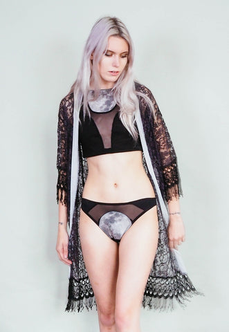 Errant Ways - Grey velvet and black lace kimono