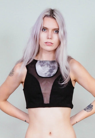 Moonrise - Sheer black crop top with moon print insert - bra bralette