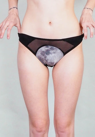 Moonrise - Moon print underwear with sheer sides and black cotton jersey