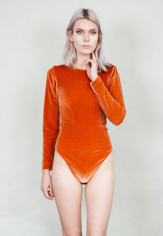 Party crasher - Long sleeve velvet bodysuit with scoop back - Copper rust burnt orange