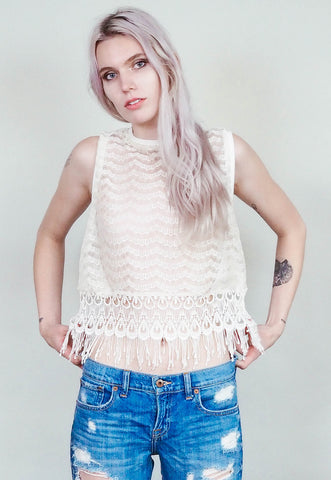 Jennifer -  Ivory lace with white lace trim fringed cropped muscle shirt