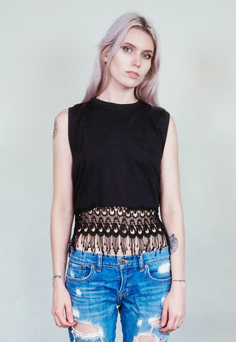 Moxie - Black - Lace fringed cropped muscle shirt