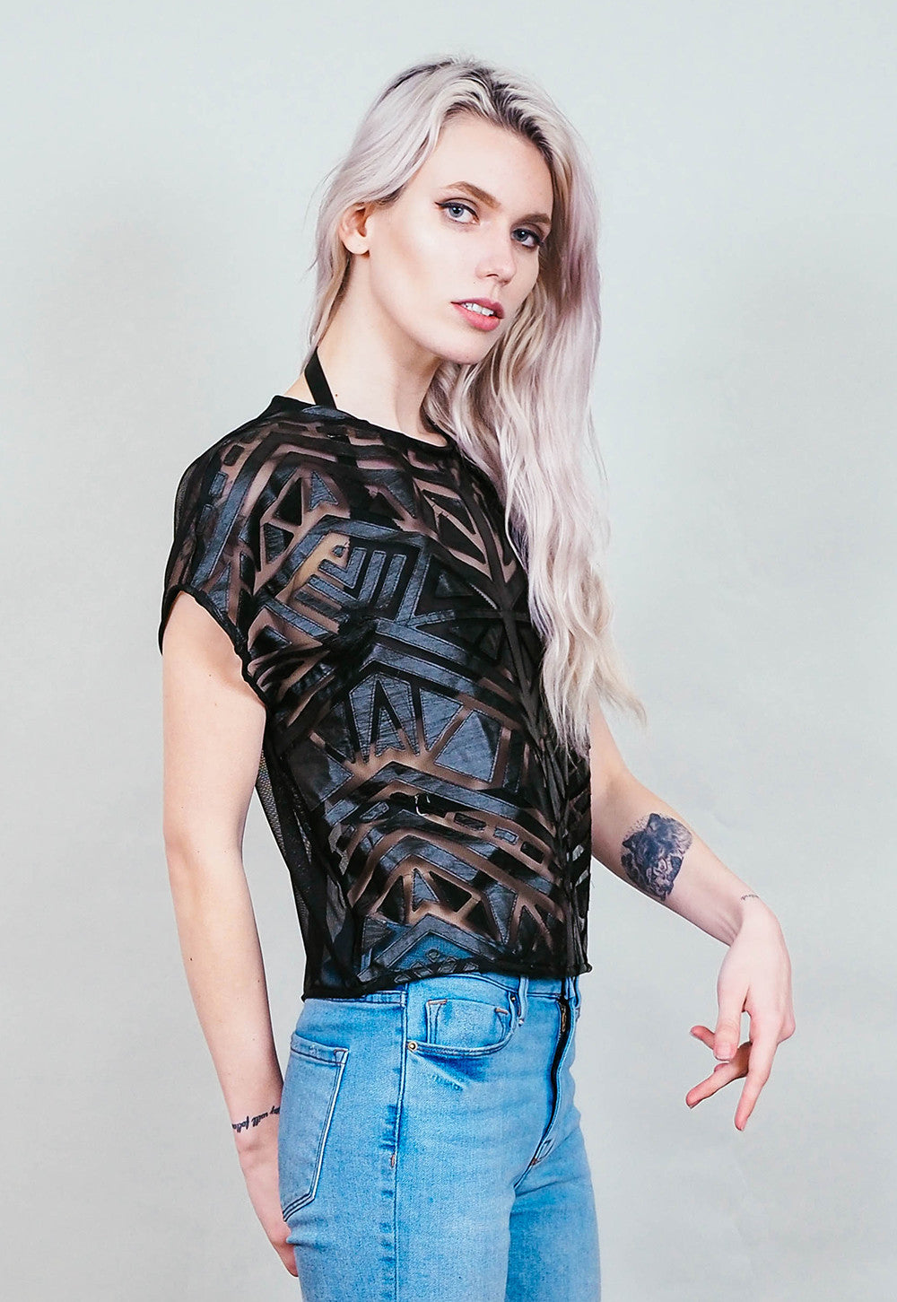 40671f0e4c747c Cross My Heart - sheer mesh crop top with faux leather panels - cruelty free