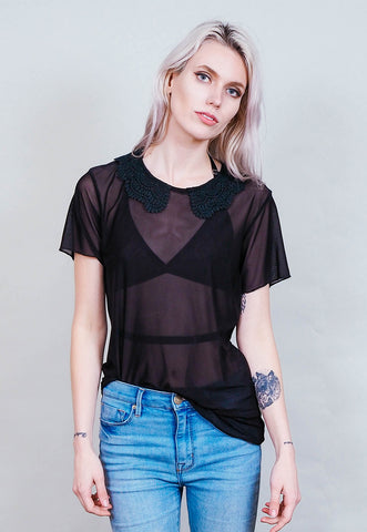Cakewalk - Sheer black shirt with black lace collar