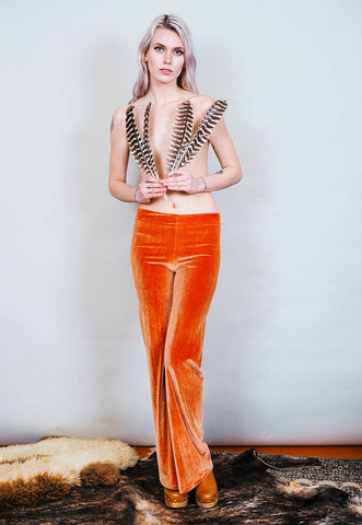Hells Bells - Copper colored velvet bell bottoms wide leg pants - mustard rust