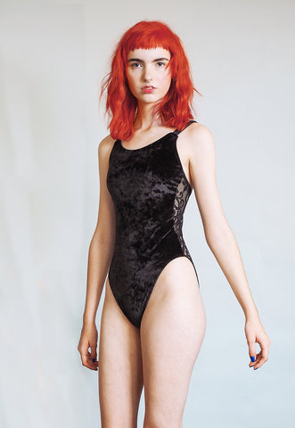 Sibylline - Crushed black velvet bodysuit with sheer lace back - sleeveless