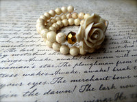 Vanilla Rose and Golden Cream Sugar Skull Bracelet - Double Wrapped Memory Wire