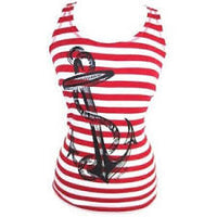 Red and White Sailor Tank Top