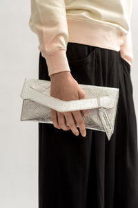 Mini Triangular Slashed Clutch - Alternative Silver
