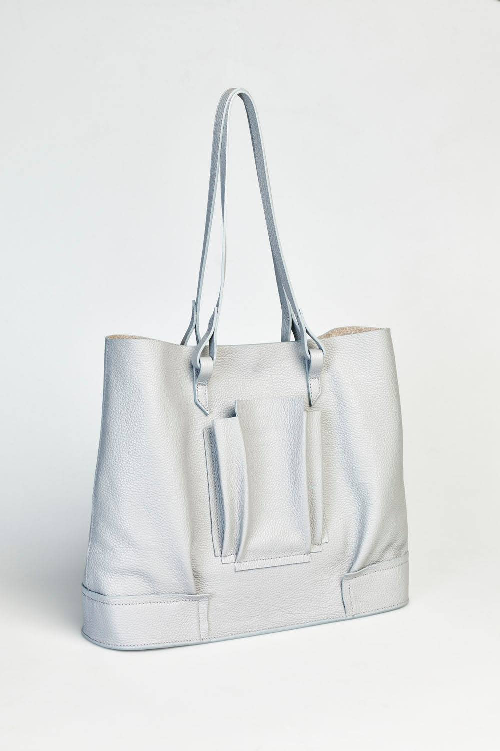 Structural Plisse Shopper - Light Grey