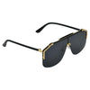 Rectangle Grey And Gold Sunglasses For Men And Women-SunglassesCraft