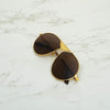 Round Brown And Gold Sunglasses For Men And Women-SunglassesCraft
