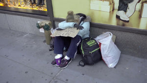 homeless woman with help sign sitting on sidewalk - hopeless and destitute in cold winter - New York City NYC 1080 HD