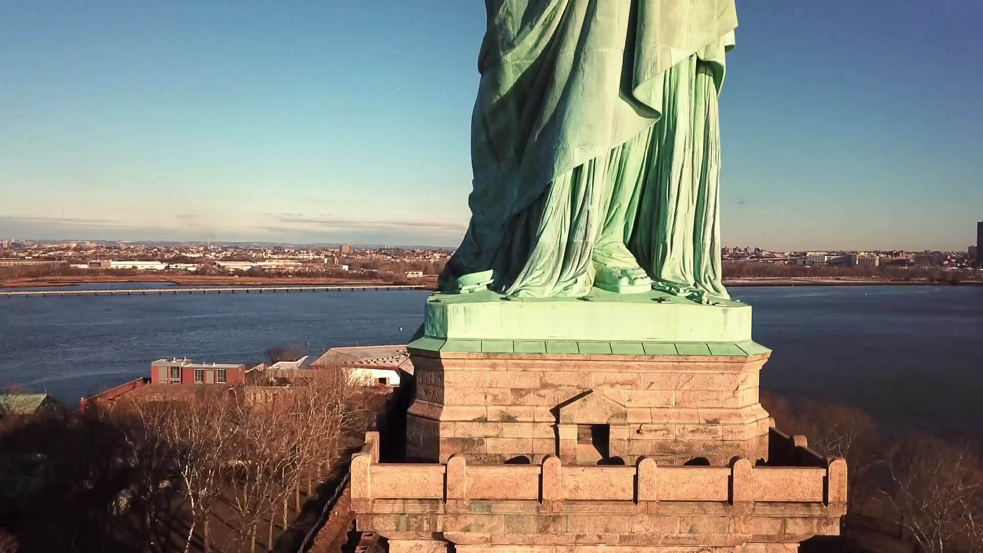 Statue of Liberty rising aerial in 4K and 1080 HD