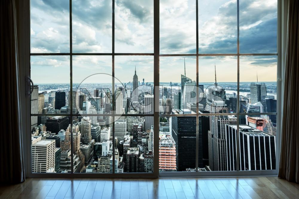 Manhattan cityscape view from high-rise window with curtains in luxury real estate interior apartment - Empire State Building and skyscrapers and buildings in New York City NYC