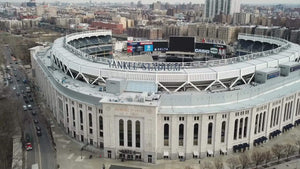 Yankee Stadium aerial flying across Yankees sign in The Bronx New York City NYC 1080 HD