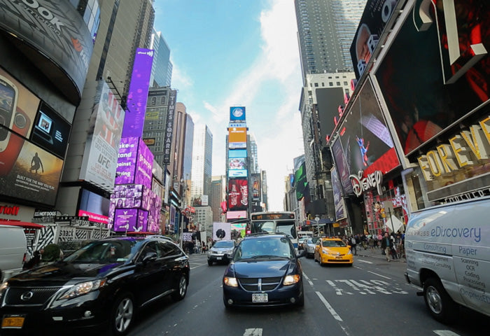 Driving through Times Square