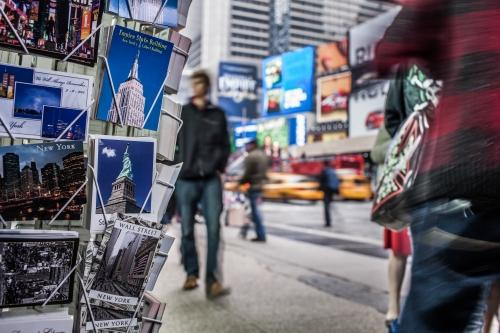 postcards in Times Square on cold fall or winter day in Manhattan New York City NYC