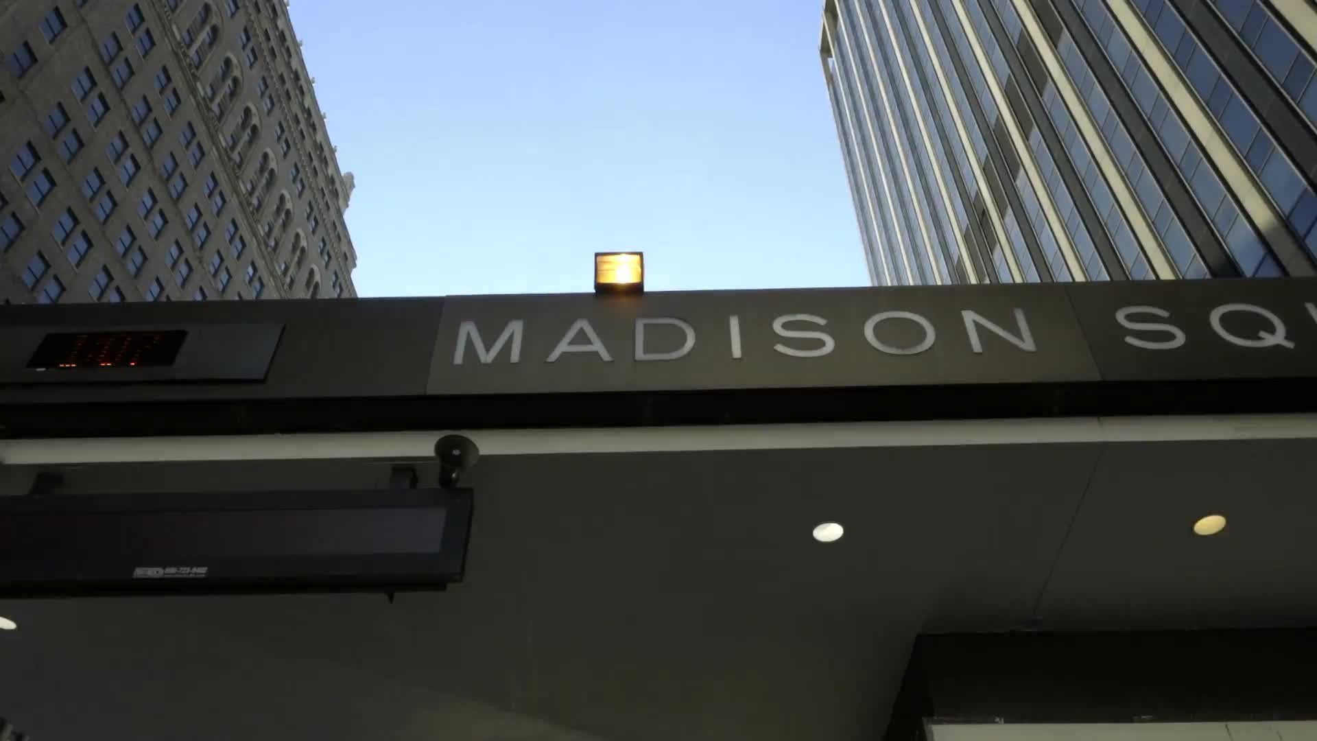 Madison Square Garden front entrance sign on canopy in NYC