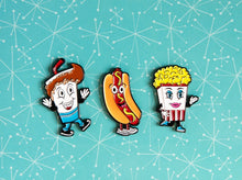 Load image into Gallery viewer, Drive-In Movie Snack Enamel Pin Set!