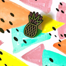 Load image into Gallery viewer, Pineapple Neon Sign Pin! (glows in the dark!)