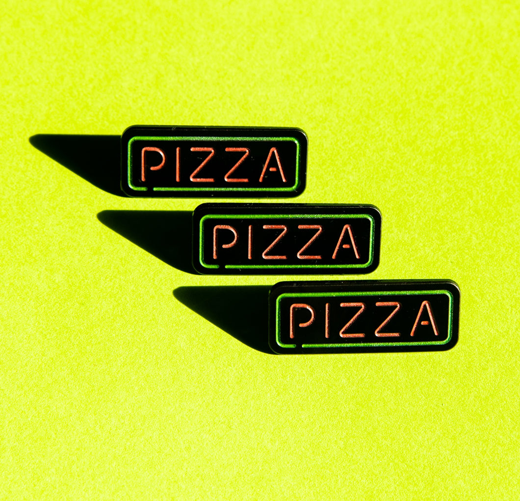 Pizza Neon Sign Pin (glows in the dark!)