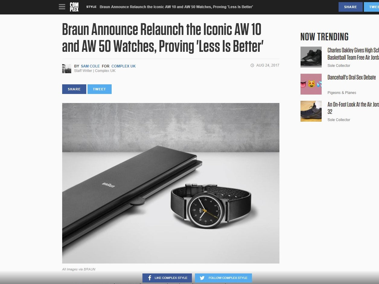 Braun Announce Relaunch of the Iconic AW 10 and AW 50 Watches, Proving 'Less Is Better'