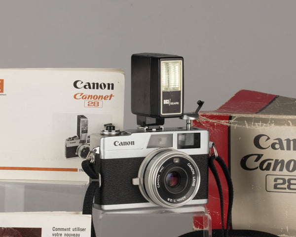 Canon Canonet 28 rangefinder 35mm camera in original box + Sears flash