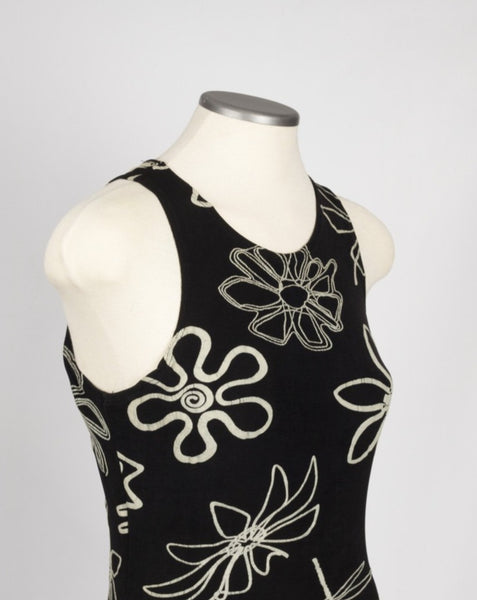 Black and white abstract floral 90s dress - medium