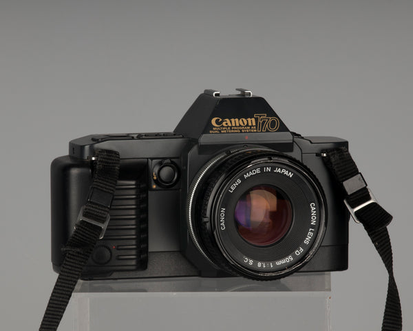 Canon T70 35mm film SLR with Canon FD 50mm f1.8 SC lens