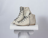 vintage laceup ankle boots hightop sneakers white 80s flat