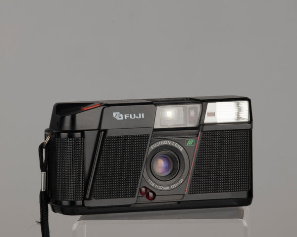 The Fuji DL-200 35mm film point-and-shoot; this camera features a sharp 32mm f2.8 lens