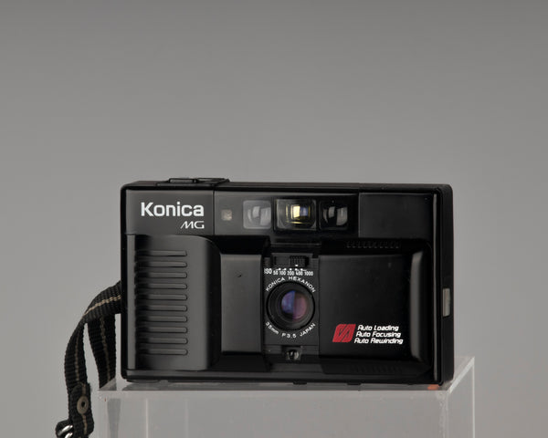 The Konica MG compact 35mm autofocus film camera from the 1980s,