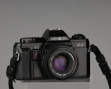 Minolta X-9 SLR camera with MD 50mm f1.7 lens. The circa 1990 X-9 was the company's final manual focus SLR design, a very worthy example in a line that began with the Minolta SR (1958).