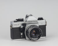 Praktica MTL 5 35mm film SLR camera with Rikenon 55mm f2.8 lens and ever-ready case