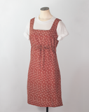 Vintage sleeveless rust floral pinafore apron shift dress