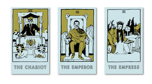Three tarot cards inspired by Wes Anderson's Rushmore.