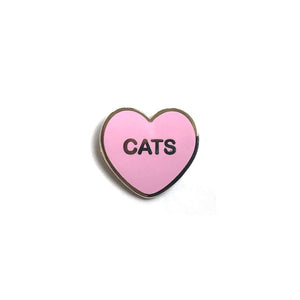 Yesterdays - Cats Candy Heart Enamel Pin