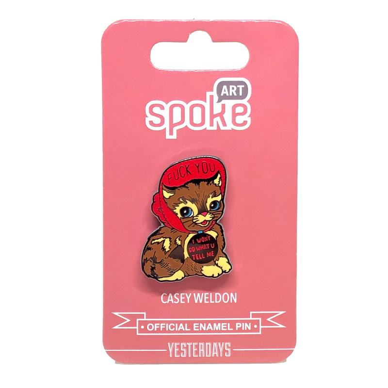 "Casey Weldon x Yesterdays - ""Won't Do What You Tell Me"" Love Cats Enamel Pin"