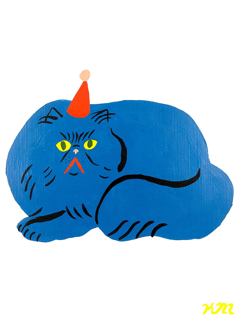 "Kristina Micotti - ""Blue Cat with Party Hat"""