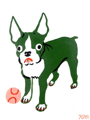 "Kristina Micotti - ""Boston Terrier with Ball"""