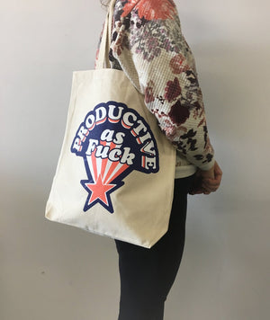 "Marie-Claude Marquis - ""Productive As Fuck"" Tote Bag"