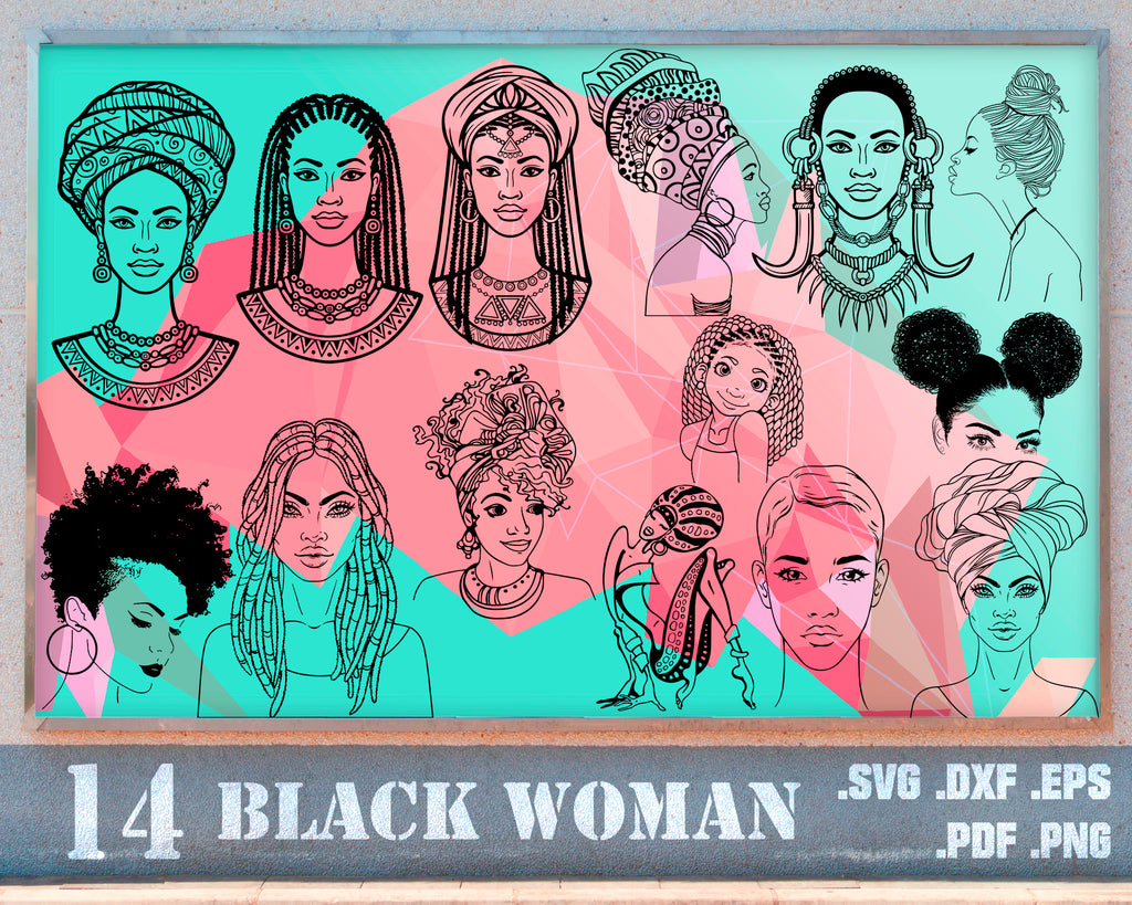 For Cricut For Silhouette Afro Girl Svg Cut Files Curly Hair Svg Black Woman Afro Lady Svg Dxf,Eps,Png Afro Woman Bundle SVG