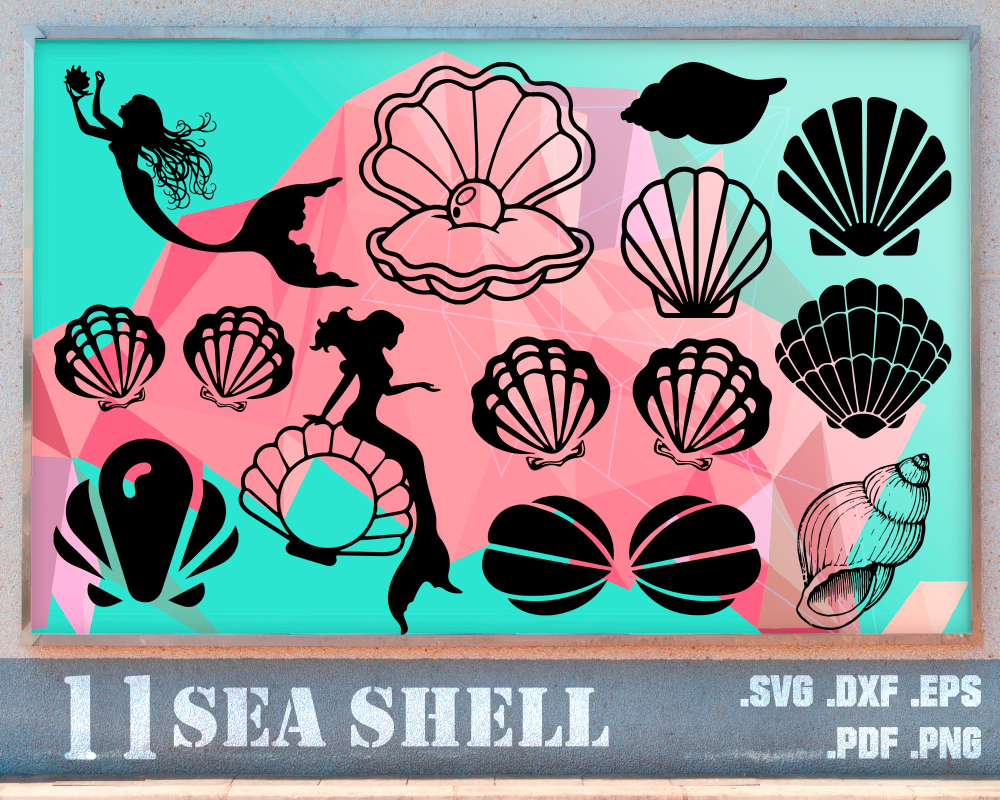 Seashells svg Mermaid SVG SVG Seas the day svg dxf PNG /& Ai cuttable clipart for craft cutters eps mermaid wreath svg sea horse svg
