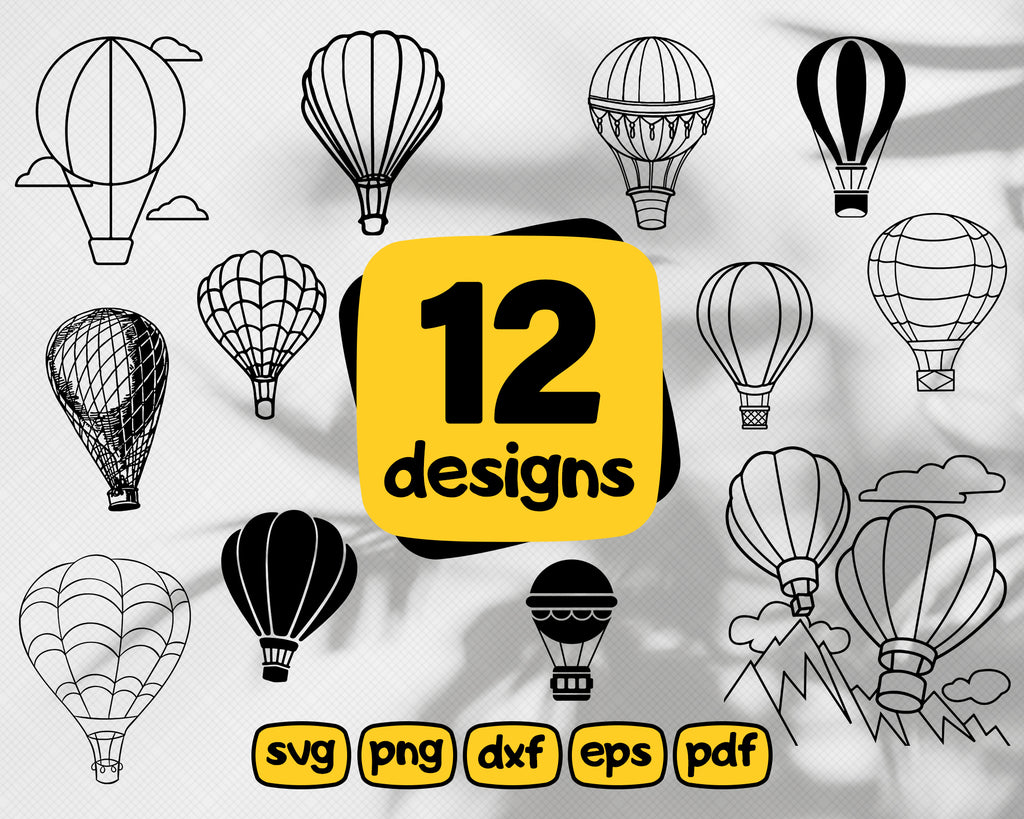Hot Air Balloon Svg Cut File Bundle | Air Balloon Svg | Adventure Svg, Travel Svg Decal, Air Balloon clipart, Summer Svg | Cricut Silhouette